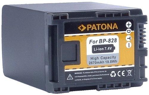 """Bundlestar * PATONA Qualitätsakku für Canon BP-828 BP-827 (echte 2670mAh!) mit Infochip - Intelligentes Akkusystem - 100% kompatibel """"neueste Generation"""" für -- Canon XA20 XA25 LEGRIA HF G30 G25 G20 G10 M30 M31 M32 M40 M41 M300 M301 M400 S10 S11 S1400 (und viele mehr....siehe Produktdetails)"""