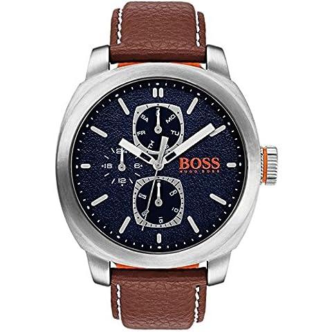 BOSS Orange Herren-Armbanduhr Analog Quarz One Size, schwarz, braun