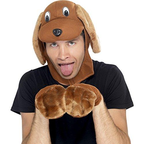 Kostüm Herr Mops - NET TOYS Kostüm-Set Hund mit Mütze und Pfoten braun Mops Verkleidung Hund Hundemütze