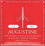Augustine 650427 Red Label Jeu de cordes guitare classique carte rouge tension moyenne