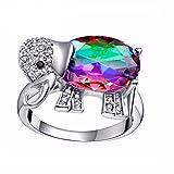 Uloveido Lady's Rainbow Mystic Topaz Glücklicher Elefant gefüllter Ring Cocktailring für Frauen Valentinstag Geschenke für Sie J378-Multi-7