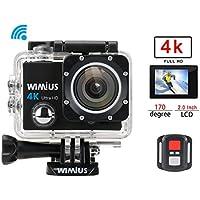 WiMiUS Q3 Action Camera, Fotocamera Subacquea 4k WiFi Full HD 16MP Action Sport Camera Impermeabile 40M con 2 Batterie e Kit di Accessori (Nero) (Q3)
