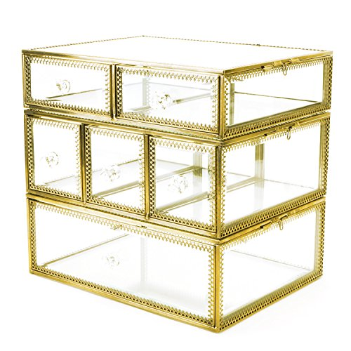 Hersoo Accent clair en verre et en métal Bijoux et Cosmétique/organiseur de maquillage de rangement Beauté Miroir Grand écran Doré