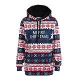 Damen Unisex langarm Hoodies Sweatshirt Weihnachten snowflake Drucken Tunnelzug Kapuzenpullover jacke Klassisch übergangsjacke Erschwinglich Festive Geschenk Pullover Tops (S, Blau)
