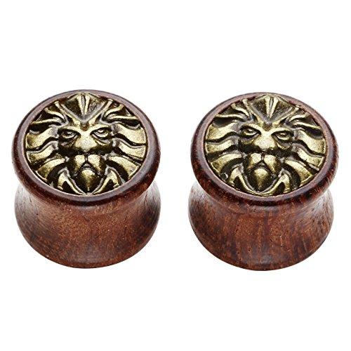 PiercingJ - 2PCS Boucles d'oreilles Tete de Lion Creux Bois Sono Bambou Taper Tambour Ecarteur Expandeur Tunnel Flesh Plug Unisexe 8mm - 20mm 16mm