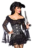 Piratenkleid / Long-Bluse - schwarz - M