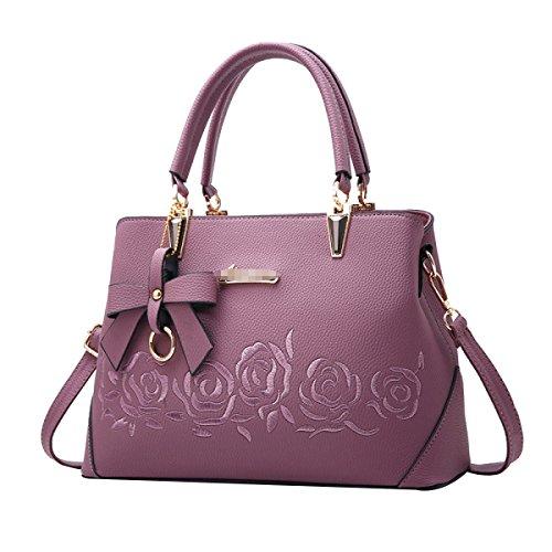 Lady Fashion Rose Imbottitura Borsa Donne PU Borsa Satchel Tote Shoulder Bag Multicolor Purple