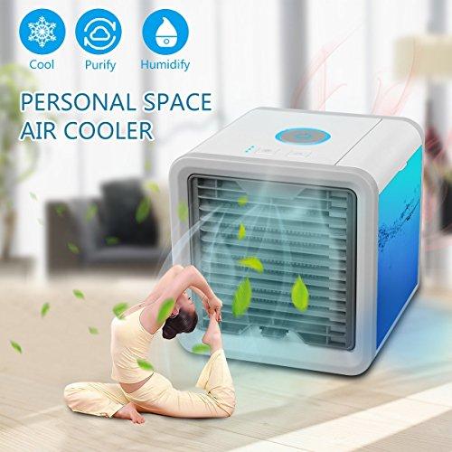 Aire Acondicionado Portátil De Aire Ártico Mini Aire Acondicionado De 3 Ventilador Con 1 USB Enfriador De Aire Personal Purificador Y Humificador De Aire Con Luces Del LED De 7 Colores Ventilador De Aire Frío De Escritorio Para Casa Oficina Dormitorio