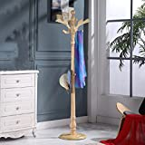HAIYING Garderobe-stehender Mantel-Gestell-fester Birken-Holz-Eingang Hall Tree Coat-Baum Mit Runder Basis Für Mantel-Hut-Geldbeutel-Jacke, Kaffee (Farbe : E)