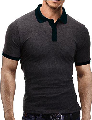 Merish Herren Poloshirt Polo Hemd Kurzarm Shirt Polohemd T-Shirt Shirt 1025 Anthrazit-Schwarz L (Button-down Gestreift Polo Shirt)