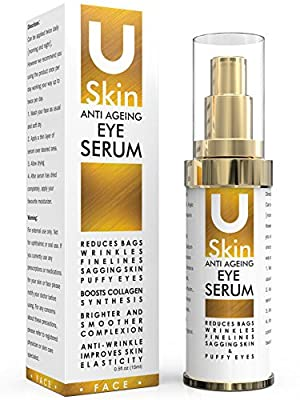 PREMIUM Anti Ageing Eye Serum for Dark Circles & Puffiness - The Best Anti Wrinkle Eye Serum - Clinical Strength - Reduces Wrinkles, Bags, Saggy Skin & Puffy Eyes! High Quality Ingredients - Q10 - Matrxyl 3000 - Great Eye Treatment For All Types Of Skin.