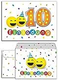12 Einladungskarten incl. 12 Umschläge zum 10. Geburtstag
