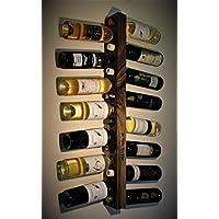 Estante del vino, madera, madera quemada, designe de la pirografía, montado en
