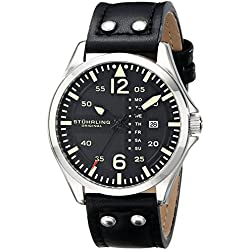 Stuhrling Original Aviator 699 Men's Quartz Watch with Black Dial Analogue Display and Black Leather Strap 699.01