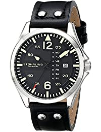 Stührling Original 699.01 - Reloj analógico para hombre, correa de cuero, color negro