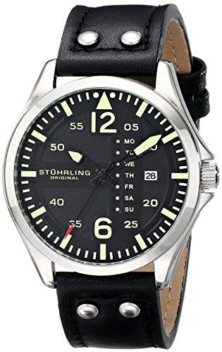 stuhrling-original-aviator-699-orologio-da-polso-display-analogico-uomo-cinturino-in-pelle-nero