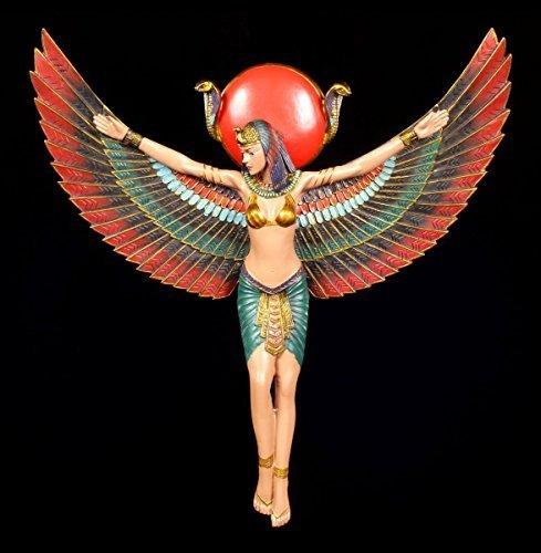 Ägyptisches Wandrelief - Isis Figur mit ausgebreiteten Flügeln | 33,5 cm Ägypten Deko Göttin
