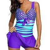 VJGOAL Damen Tankini, Damen Plus Size Farbverlauf Tankini Bikini Tops + Shorts Sets Bademode Badeanzug Badeanzug (2XL / 40, X-Patchwork-Violett)