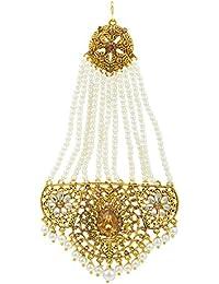 Shining Jewel Brass Bridal Passa Kundan and Pearls Mang Tikka for Women ( Beige)