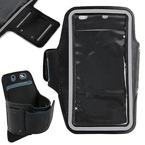 DURAGADGET Etui noir + brassard de sport intégré pour Smartphone LG Joy, Leon, Magna et Spirit, Microsoft Lumia 640 - écran tactile + bras réglable