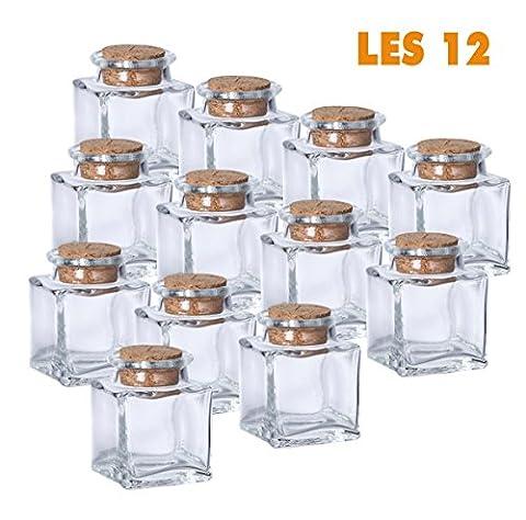 Lot de 12 mini pots carrés déco de table bouchon