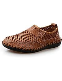 Shenduo Zapatos Casuales - Mocasines de Cuero sueve Cómodos Antideslizantes para Hombre D1181 Azul Oscuro 44