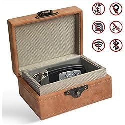 Car Key Signal Blocker Box, Faraday Box for Car Keys, Keyless Entry Fob RFID Blocking Pouch, Leather Anti-Theft Faraday Cage,Key Fob Storage Box,Safe Security for Remote Smart Keys Cards Home (Small)