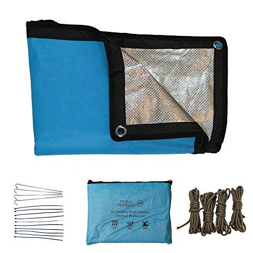 batt für 2017 – Himmelblau Allwetter Mehrzweck Thermodecke für Notfälle und Survival geeignet. Reflektierender Alusilberfolien Rettungsdecke mit Stahlheringe, Paracord und Tasche (Schlafsäcke Rabatt)