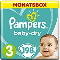 Pampers Baby-Dry Windeln, Gr. 3, 6-10 kg, Monatsbox, 1er Pack (1 x 198 Stück)