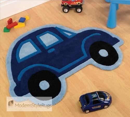 Bleu Tapis Gosse Play Car Boy Cute Conception & Cut Details on Pure 100% Acrylic Fibre 80cm x 100cm