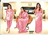 Indiatrendzs Womens Silk Satin 4pc set Nightwear Pink Flirty Nighgown freesize best price on Amazon @ Rs. 699