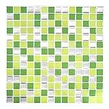 Wandora 4 Stück 25,3 x 25,3 cm Fliesenaufkleber hellgrün grün Silber Mosaik I Selbstklebende 3D Mosaik Fliesen Bad Küche Fliesenaufkleber Fliesendekor W1440