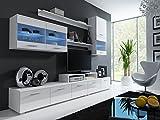 Wohnwand LOGO-II mit LED Beleuchtung Anbauwand Wohnzimmer Möbel (weiß / weiß hochglanz)