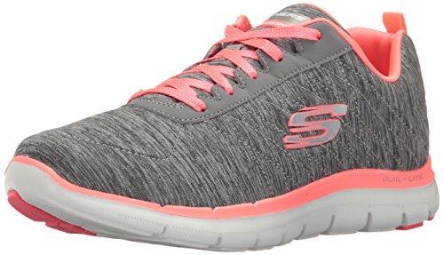 Skechers Women's Flex Appeal 2.0 Multisport Outdoor Shoes, Grey (Grey/Coral), 5 UK...