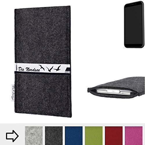 flat.design für Shift Shift6mq Schutzhülle Handy Tasche Skyline mit Webband Nordsee - Maßanfertigung der Schutztasche Handy Hülle aus 100% Wollfilz (anthrazit) für Shift Shift6mq