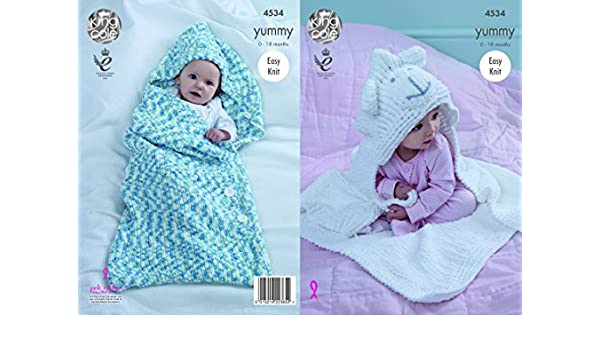 223697e17542 King Cole Baby Cocoon and Blanket Knitting Pattern 4534 Chunky ...
