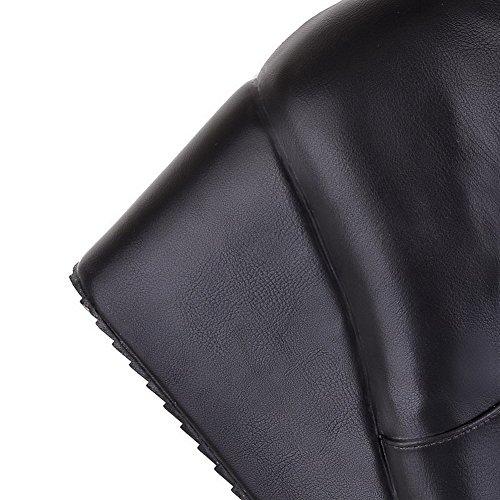 VogueZone009 Donna Cerniera Luccichio Tacco Alto Puro Alta Altezza Stivali con Fibbia Nero