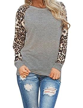 ISSHE Camisetas Cuello Redondo Manga Larga Mujer Camiseta Interior Para Dama Camisas Estampadas Camisa Leopardo...