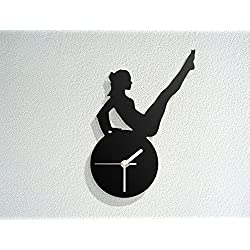 Gymnastics Figure Silhouette - Exercise Pilates Stretching Fitness - Yoga - Modern Novelty Gift - Custom Acrylic Wall Clock