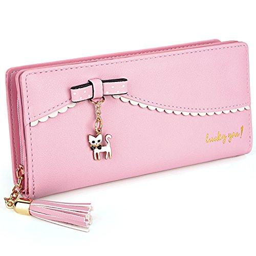 "UTO Damen lang Geldbörse PU Leder Clutch 5.5"" Phone Case 12 Karte Halter Holder Reißverschluss Fach Purse Pink"