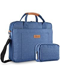 E-Tree 15-15.6 Inches Laptop Shockproof Shoulder Bag Sleeve Briefcase Carrying Case for Laptops/Macbook/Surface Book/Chromebook with Denim Fabric and Carry Strap, Blue