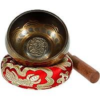 Rovtop Campana Tibetana 9.5 cm 9 Metalli ( Migliore di 7 Metalli ), Percussione a Mano per Meditazione Buddista Cura Yoga Musicoterapia