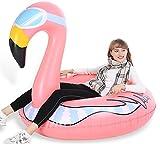 Jasonwell Winter Flamingo Aufblasbare Schlitten Luftmatratze Schnee - Großes strapazierfähiges Toboggans Rodel...