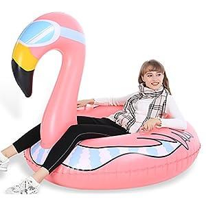 Jasonwell Winter Rentier Flamingo Erdbeere Aufblasbare Schlitten Luftmatratze Schnee Großes strapazierfähiges Toboggans Rodel kostenloser Tragetasche Weihnachts Geburtstagsgeschenk Kinder Erwachsene