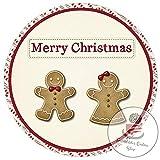 Tortenaufleger Tortenbild Weihnachten Lebkuchenfiguren Wunschtext 20 cm Ø TA1106