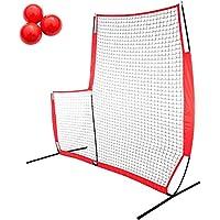VEVOR Red de Entrenamiento para Béisbol 2.1 x 2.1m Red de Entrenamiento de Bateo Portátil 2.1 x 2.1m Material Entrenamiento Red Beisbol Red Bateo Beisbol Red de Beisbol Forma L Rojo
