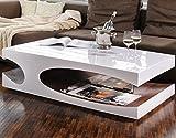 SalesFever Couch-Tisch weiß/walnuss Hochglanz aus MDF 120x70cm recht-eckig | Julia | Moderner Wohnzimmer-Tisch Weiss/walnuss mit seitlicher Aussparung 120cm x 70cm