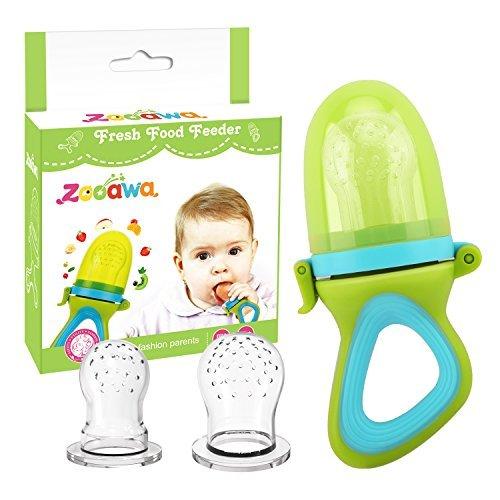 Zooawa Alimentador de Chupete para Bebés, Antiahogo Alimentador de Fruta y Verdura, 3 Pezones de...