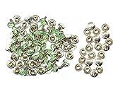 Weddecor 10x 8mm, Farbe: ab, Acryl mit Strass mit Zubehör für Rivet Nieten, Leder, zum Basteln, Designer-Gürtel, Kleidung, Taschen, Hunde-Halsbänder, metall, mintgrün, 50