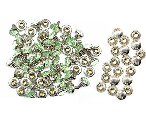 Weddecor 10x 8mm, Farbe: ab, Acryl mit Strass mit Zubehör für Rivet Nieten, Leder, zum Basteln, Designer-Gürtel, Kleidung, Taschen, Hunde-Halsbänder, metall, mintgrün, 10 (8 Acryl X 10)